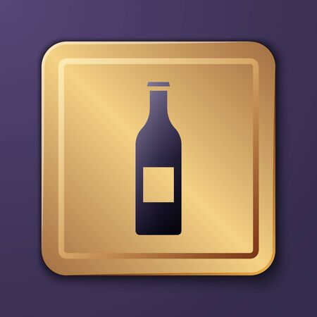 Purple Beer bottle icon isolated on purple background. Gold square button. Vector Illustration