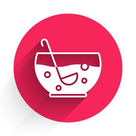 White Mixed punch with fresh fruits in bowl icon isolated with long shadow. Red circle button. Vector Illustration