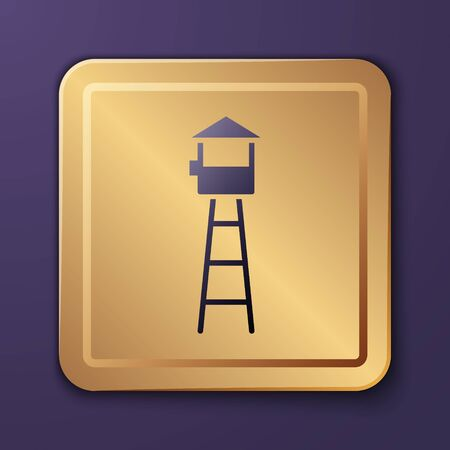 Purple Watch tower icon isolated on purple background. Prison tower, checkpoint, protection territory, state border, military base. Gold square button. Vector Illustration