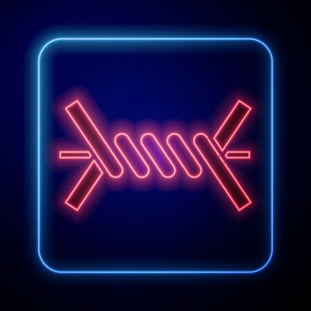 Glowing neon Barbed wire icon isolated on blue background. Vector Illustration Ilustrace