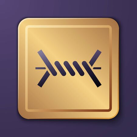Purple Barbed wire icon isolated on purple background. Gold square button. Vector Illustration Ilustrace