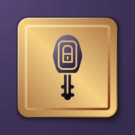Purple Car key with remote icon isolated on purple background. Car key and alarm system. Gold square button. Vector Illustration