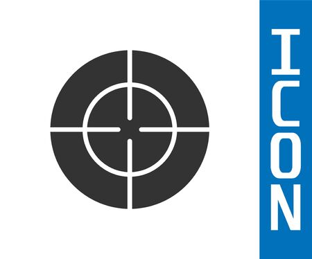 Grey Target sport icon isolated on white background. Clean target with numbers for shooting range or shooting. Vector Illustration