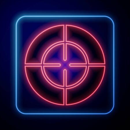 Glowing neon Target sport icon isolated on blue background. Clean target with numbers for shooting range or shooting. Vector Illustration