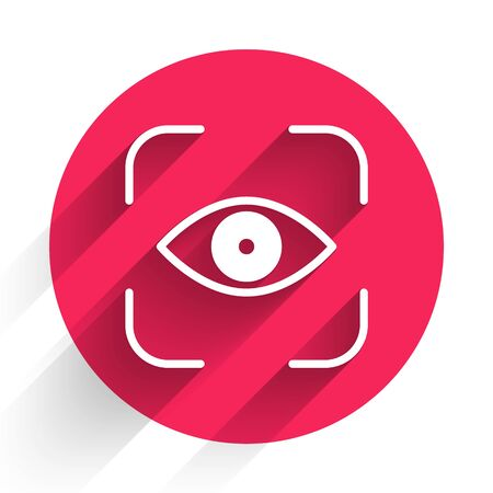 White Eye scan icon isolated with long shadow. Scanning eye. Security check symbol. Cyber eye sign. Red circle button. Vector Illustration