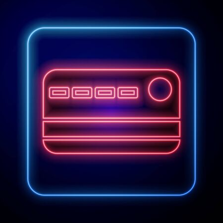 Glowing neon Credit card icon isolated on blue background. Online payment. Cash withdrawal. Financial operations. Shopping sign. Vector Illustration Çizim
