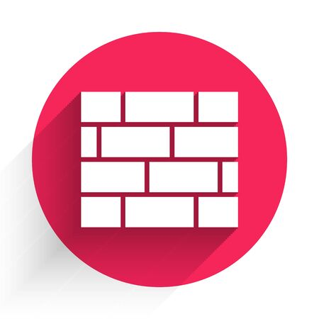 White Bricks icon isolated with long shadow. Red circle button. Vector Illustration