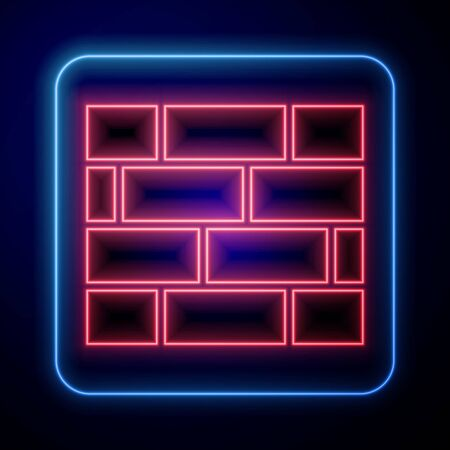 Glowing neon Bricks icon isolated on blue background. Vector Illustration