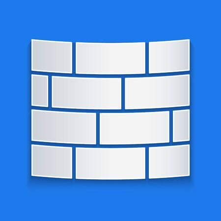 Paper cut Bricks icon isolated on blue background. Paper art style. Vector Illustration Illustration
