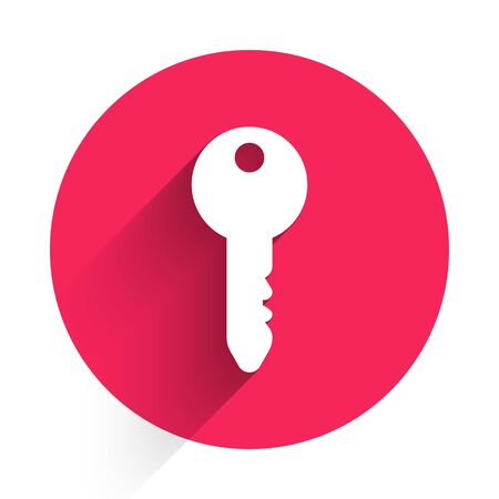 White Key icon isolated with long shadow. Red circle button. Vector Illustration Çizim