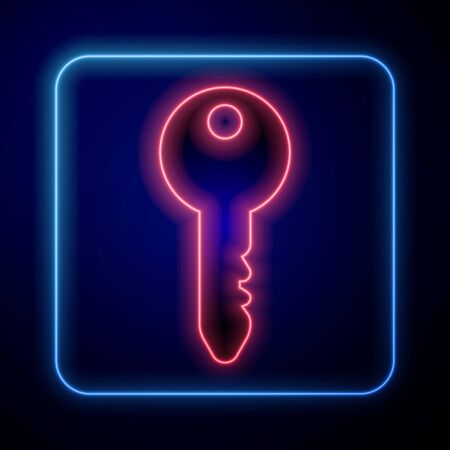 Glowing neon Key icon isolated on blue background. Vector Illustration Çizim