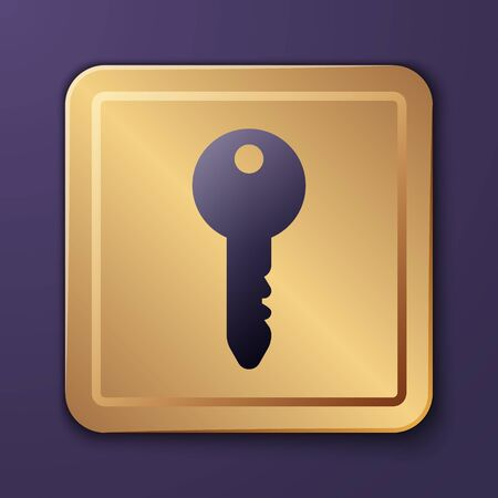 Purple Key icon isolated on purple background. Gold square button. Vector Illustration