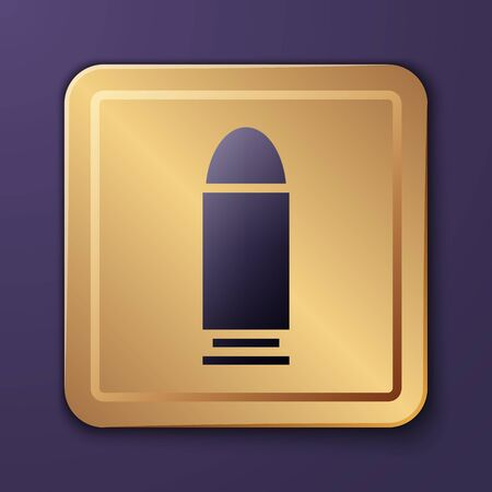 Purple Bullet icon isolated on purple background. Gold square button. Vector Illustration
