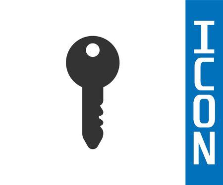Grey Key icon isolated on white background. Vector Illustration