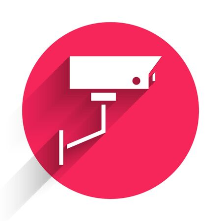 White Security camera icon isolated with long shadow. Red circle button. Vector Illustration