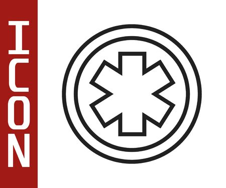 Black line Medical symbol of the Emergency - Star of Life icon isolated on white background.  Vector Illustration Иллюстрация