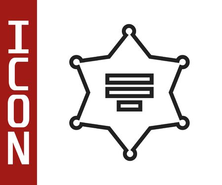 Black line Hexagram sheriff icon isolated on white background. Police badge icon.  Vector Illustration