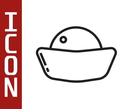 Black line Sushi icon isolated on white background. Traditional Japanese food.  Vector Illustration