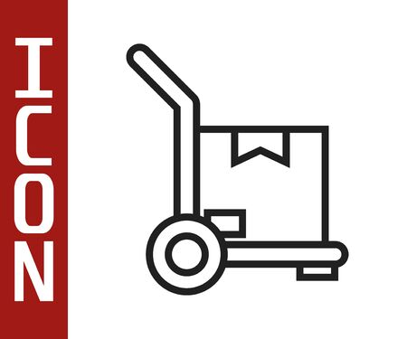Black line Hand truck and boxes icon isolated on white background. Dolly symbol. Vector Illustration Ilustracja