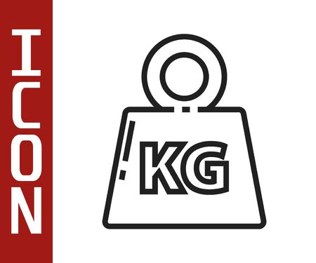 Black line Weight icon isolated on white background. Kilogram weight block for weight lifting and scale. Mass symbol. Vector Illustration