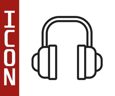 Black line Headphones icon isolated on white background. Support customer service, hotline, call center, faq, maintenance. Vector Illustration