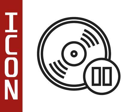 Black line Vinyl disk icon isolated on white background. Vector Illustration Illustration