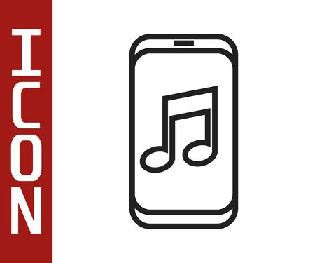 Black line Music player icon isolated on white background. Portable music device. Vector Illustration Illustration