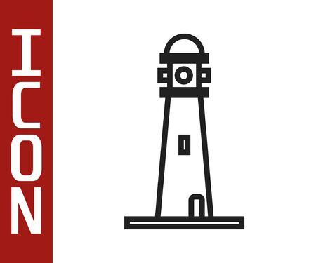 Black line Lighthouse icon isolated on white background. Vector Illustration