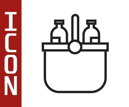 Black line Cooler bag and water icon isolated on white background. Portable freezer bag. Handheld refrigerator. Vector Illustration Illustration