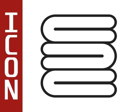 Black line Towel stack icon isolated on white background. Vector Illustration Illustration