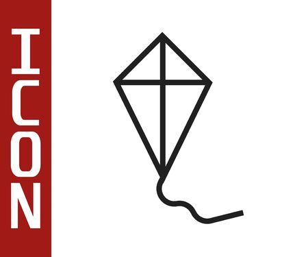 Black line Kite icon isolated on white background. Vector Illustration