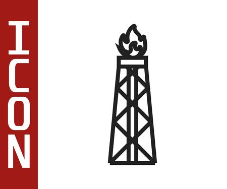 Black line Oil rig with fire icon isolated on white background. Gas tower. Industrial object. Vector Illustration