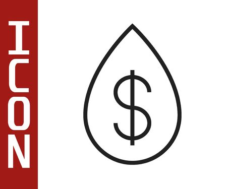 Black line Oil drop with dollar symbol icon isolated on white background. Vector Illustration