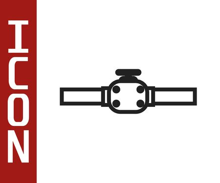 Black line Industry metallic pipes and valve icon isolated on white background. Vector Illustration