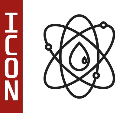 Black line Atom icon isolated on white background. Symbol of science, education, nuclear physics, scientific research. Vector Illustration