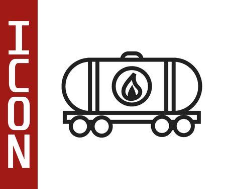 Black line Oil railway cistern icon isolated on white background. Train oil tank on railway car. Rail freight. Oil industry. Vector Illustration Stock Illustratie