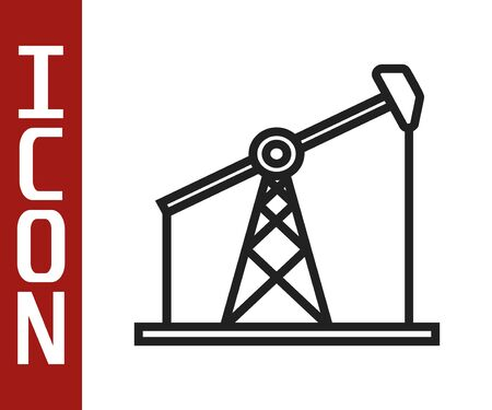 Black line Oil pump or pump jack icon isolated on white background. Oil rig. Vector Illustration