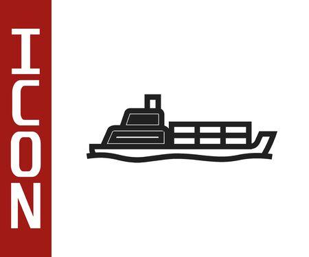 Black line Oil tanker ship icon isolated on white background. Vector Illustration Stock Illustratie