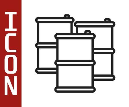 Black line Barrel oil icon isolated on white background. Vector Illustration