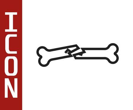 Black line Human broken bone icon isolated on white background. Vector Illustration