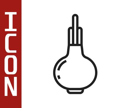 Black line Onion icon isolated on white background. Vector Illustration