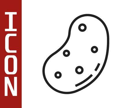 Black line Potato icon isolated on white background. Vector Illustration  イラスト・ベクター素材