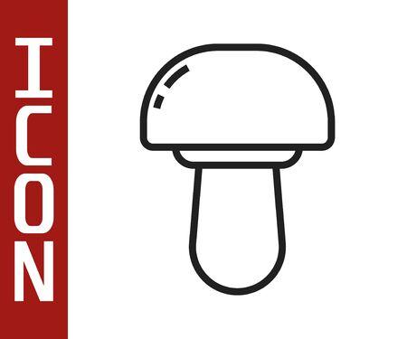 Black line Mushroom icon isolated on white background. Vector Illustration