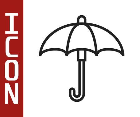Black line Classic elegant opened umbrella icon isolated on white background. Rain protection symbol. Vector Illustration Illustration