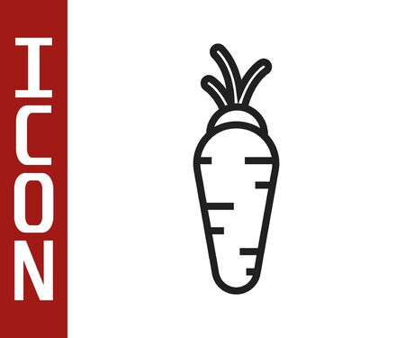 Black line Carrot icon isolated on white background. Vector Illustration