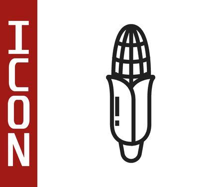 Black line Corn icon isolated on white background. Vector Illustration  イラスト・ベクター素材