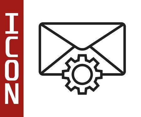 Black line Envelope setting icon isolated on white background. Vector Illustration