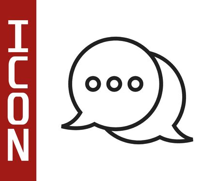 Black line Speech bubble chat icon isolated on white background. Message icon. Communication or comment chat symbol. Vector Illustration Illustration