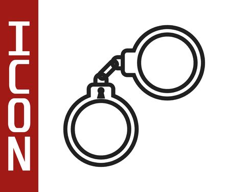 Black line Handcuffs icon isolated on white background. Vector Illustration
