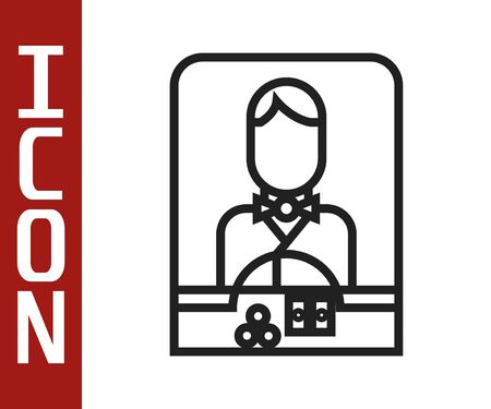 Black line Casino dealer icon isolated on white background. Casino croupier. Vector Illustration Illustration